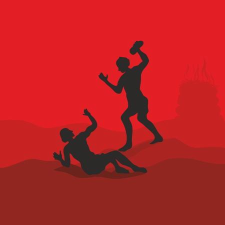 The first murder. Cain kills Abel. Bible scene Illustration