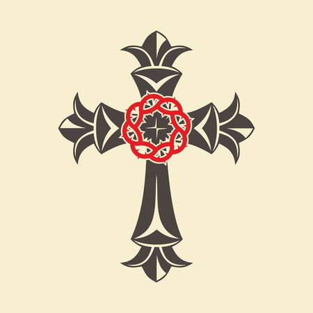 Christian cross and crown of thorns