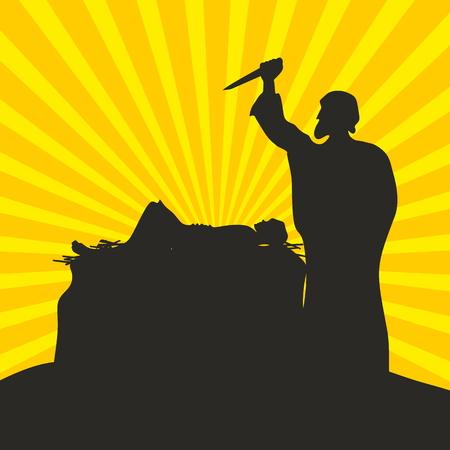 Abraham and Isaac. Scene of sacrifice Illustration