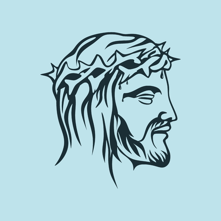 jesus on cross: Cara de Jesucristo, a mano Vectores
