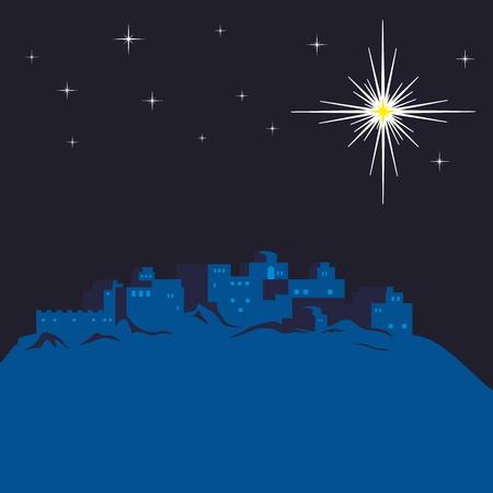 Night of Bethlehem, the city lights up a star Stock Illustratie