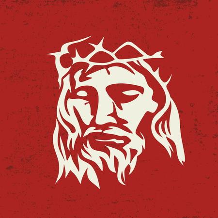 religion catolica: Cara de Jesucristo, a mano Vectores