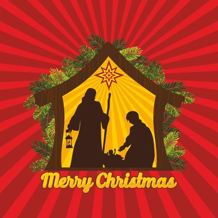 new testament: Nativity scene. Christmas tree.