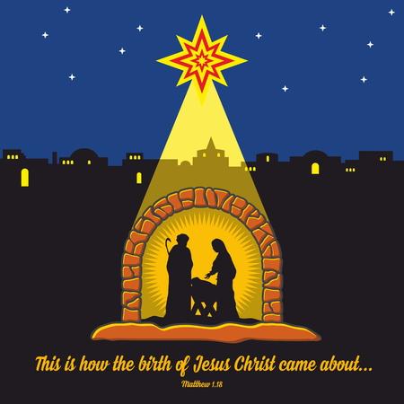 new testament: Nativity scene. Christmas. Bethlehem. Mary, Joseph and small Jesus