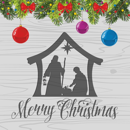 christ is born: Nativity scene. Christmas balls