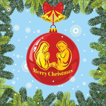 new testament: Nativity scene. Christmas ball. Bells