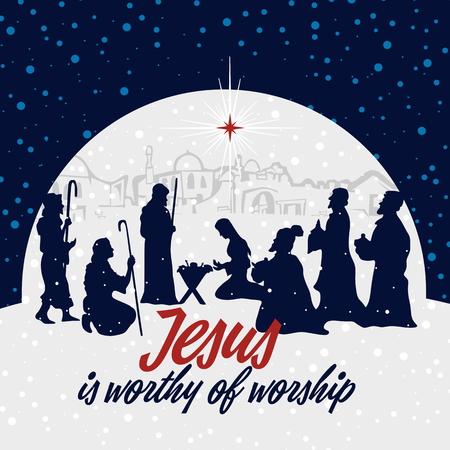 Kerststal. Kerstmis. Jezus is aanbidding waardig. Stock Illustratie