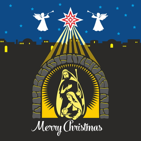 bethlehem: Nativity scene. Christmas. Mary, Joseph and small Jesus. Night Bethlehem