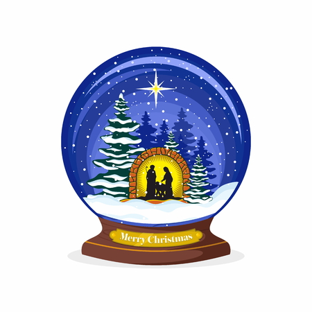 new testament: Christmas ball. Nativity scene. Christmas. Mary, Joseph and small Jesus. Forest and snow