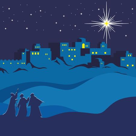 nacimiento: Navidad. Noche de Bethlehem, magos siguiendo la estrella de Belén Vectores