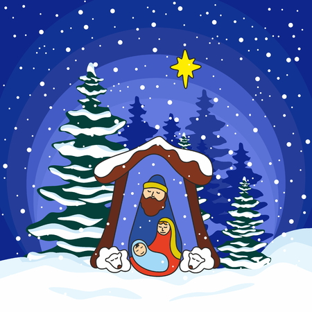 new testament: Nativity scene. Christmas. Mary, Joseph and small Jesus