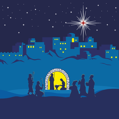 night sky stars: Nativity scene. Christmas. Bethlehem. Mary, Joseph and small Jesus. The shepherds and the wise men came to worship Jesus Illustration