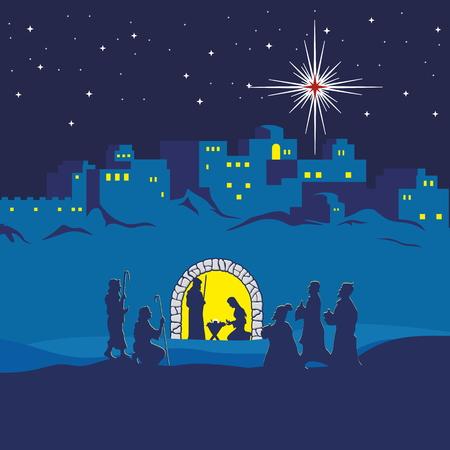 Nativity scene. Christmas. Bethlehem. Mary, Joseph and small Jesus. The shepherds and the wise men came to worship Jesus Illustration
