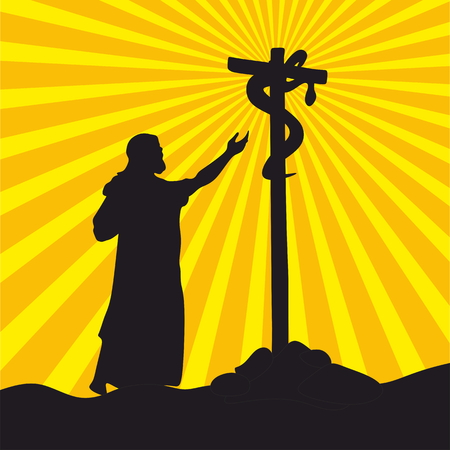 moses: Nehushtan, a crucifix, Moses on the hill Illustration