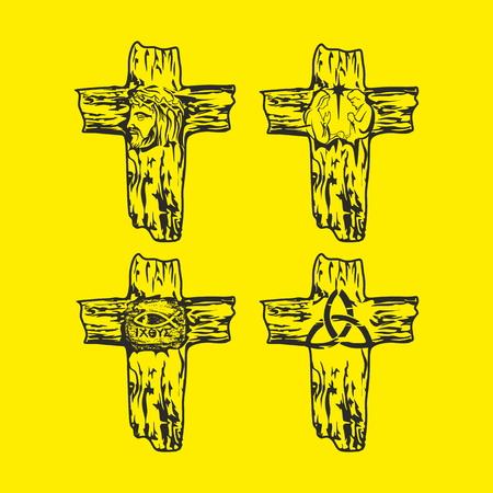 evangelism: Set of crosses. Jesus, God, Trinity, Crown of thorns, Christian symbols