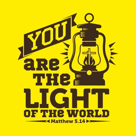 cruz religiosa: tipográfica Biblia. Eres la luz del mundo.