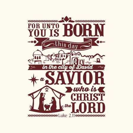 聖書活版印刷。わたしに、救い主、主キリストは、ダビデの町でこの日を生まれです。