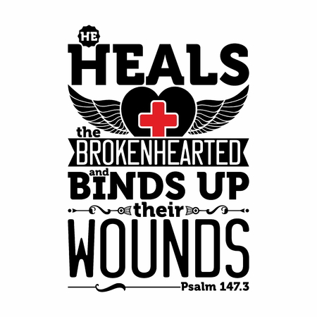 heals: Biblical illustration. He heals the brokenhearted and binds up their wounds. Illustration