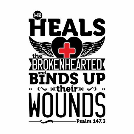 biblia: ilustración bíblica. El sana a los quebrantados de corazón y venda sus heridas. Vectores