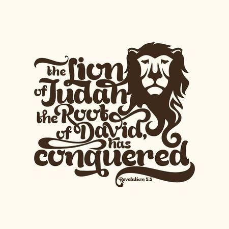 cruz religiosa: ilustración bíblica. el León de la tribu de Judá, la raíz de David, ha vencido Vectores