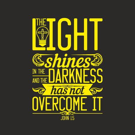 聖書の図。暗闇の中、暗闇の中で光輝くはそれを克服しません。
