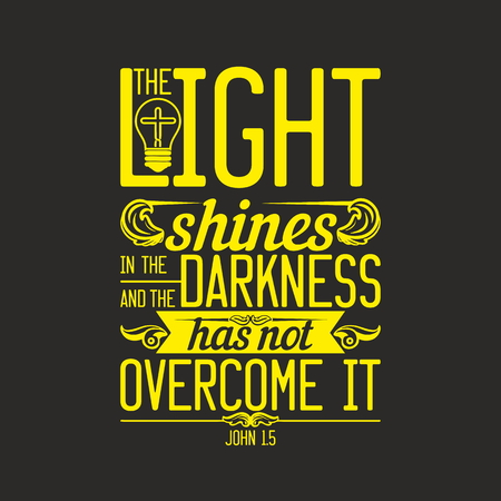 Biblical illustration. The light shines in the darkness, and the darkness has not overcome it. Imagens - 53174176