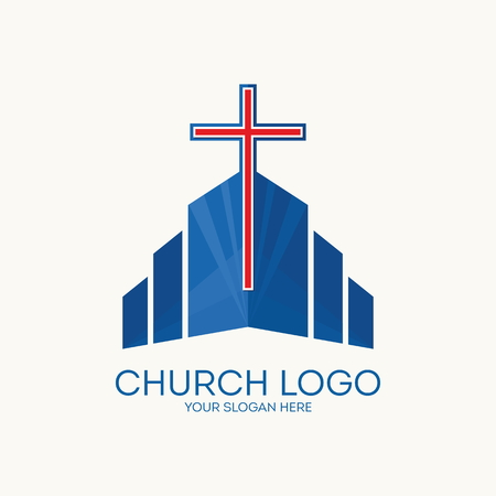 jesus in heaven: Church logo. Christian symbols. Illustration