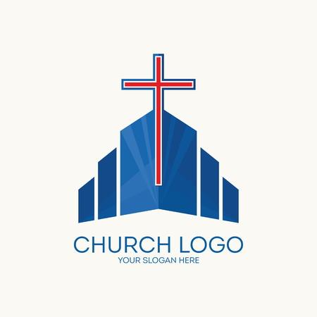 catholic church: Church logo. Christian symbols. Illustration