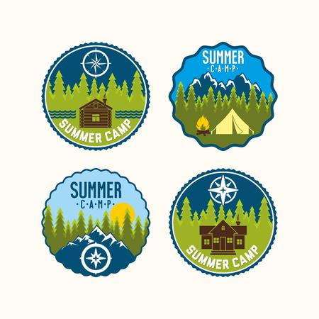 campamento: insignia de campamento de verano. juego de campamento. Vectores
