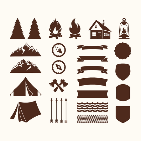 boy scouts tent: Camp icons. Set of elements. Illustration