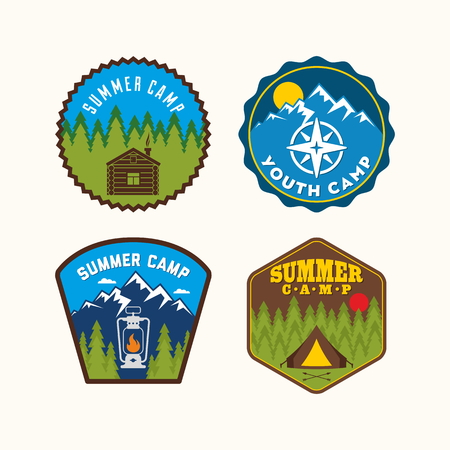 boy scouts tent: Summer camp badge. Camp set.