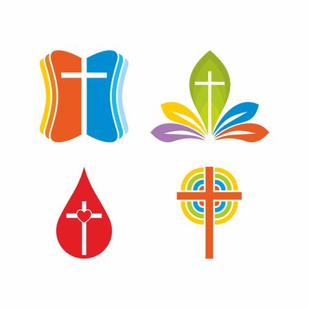 Kirche. Christliche Symbole. Mehrfarbige Lösungen.