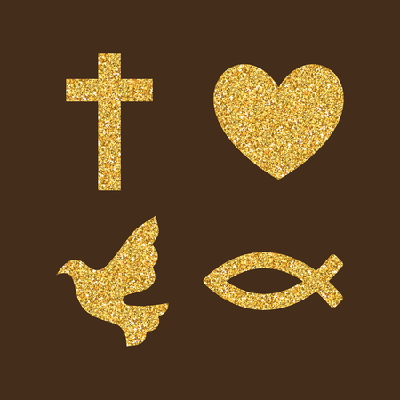 Christian, simboli. Colori brillanti di oro.