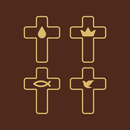 christian crosses: Church logo. Christian symbols. Set of crosses