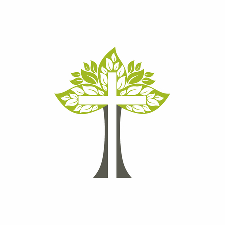 教会のロゴ。キリスト教のシンボル。木の十字架。  イラスト・ベクター素材