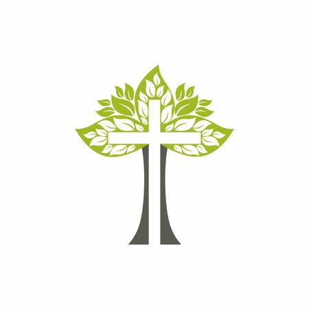 Kerk logo. Christelijke symbolen. Houten kruis.