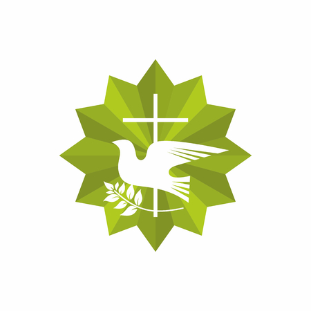pray: Church logo. Christian symbols. Cross, dove and olive branch. Çizim