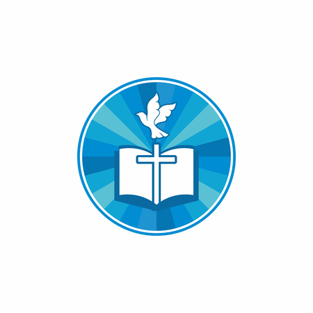 Church logo. Christian symbols. Holy bible, cross and dove.