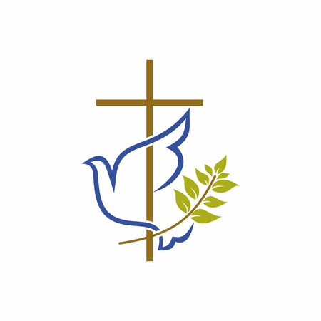 Church logo. Christian symbols. Cross, dove and olive branch. Çizim
