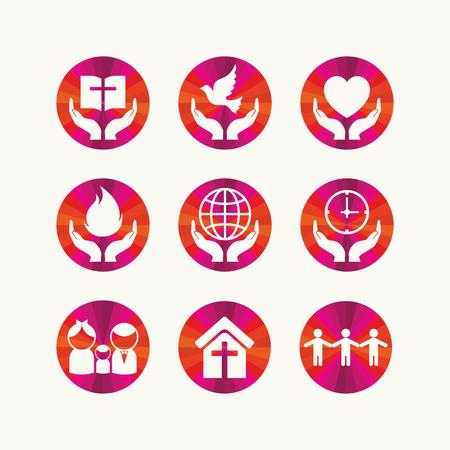 logotipo de la iglesia. símbolos cristianos e iconos.