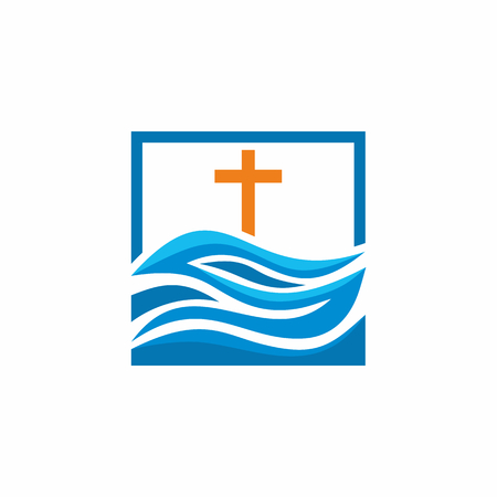 alive: Logo church. Christian symbols. Waves, cross, streams of water alive.