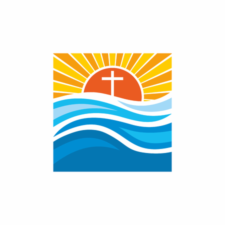 alive: Logo church. Christian symbols. Waves, cross, sun, streams of water alive. Illustration