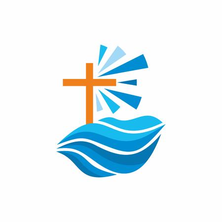Logo kerk. Christelijke symbolen. Golven, kruis, stromen van water leeft, vuurtoren.