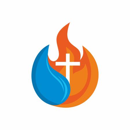Logo Kirche. Christliche Symbole. Kreuz. Das Feuer des Heiligen Geistes und die lebendigen Wasser fließt.