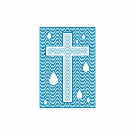 Logo church. Christian symbols. Cross. The living water flows Vectores