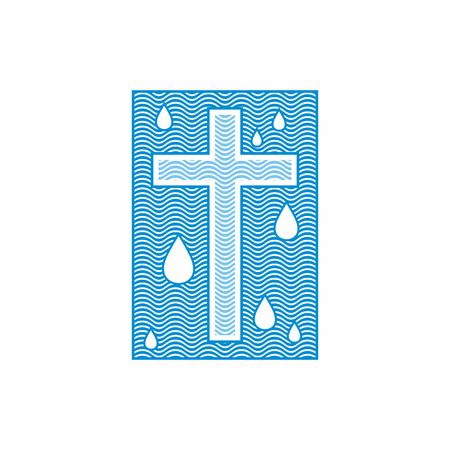 Logo church. Christian symbols. Cross. The living water flows Иллюстрация