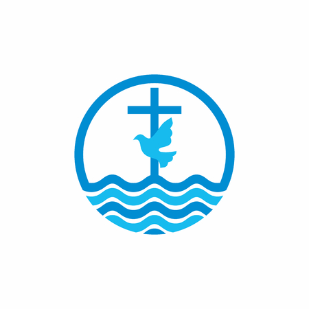 psalm: Logo church. Christian symbols. Cross and dove, waves. Jesus - the source of living water.