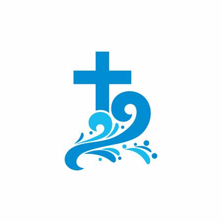 bautismo: Iglesia logotipo. s�mbolos cristianos. Cruce y las olas. Jes�s - la fuente de agua viva. Vectores