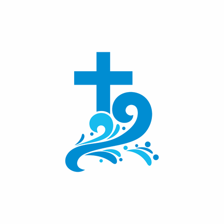 Logo church. Christian symbols. Cross and waves. Jesus - the source of living water.