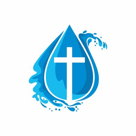 Logo kerk. Christelijke symbolen. Een druppel. Jezus - de bron van levend water. Logo